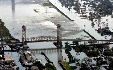 The levee break (middle right) allowed water from Lake Pontchartrain to flood New Orleans