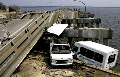 A collapsed bridge