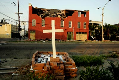 A makeshift grave of an angel who died because of Hurricane Katrina